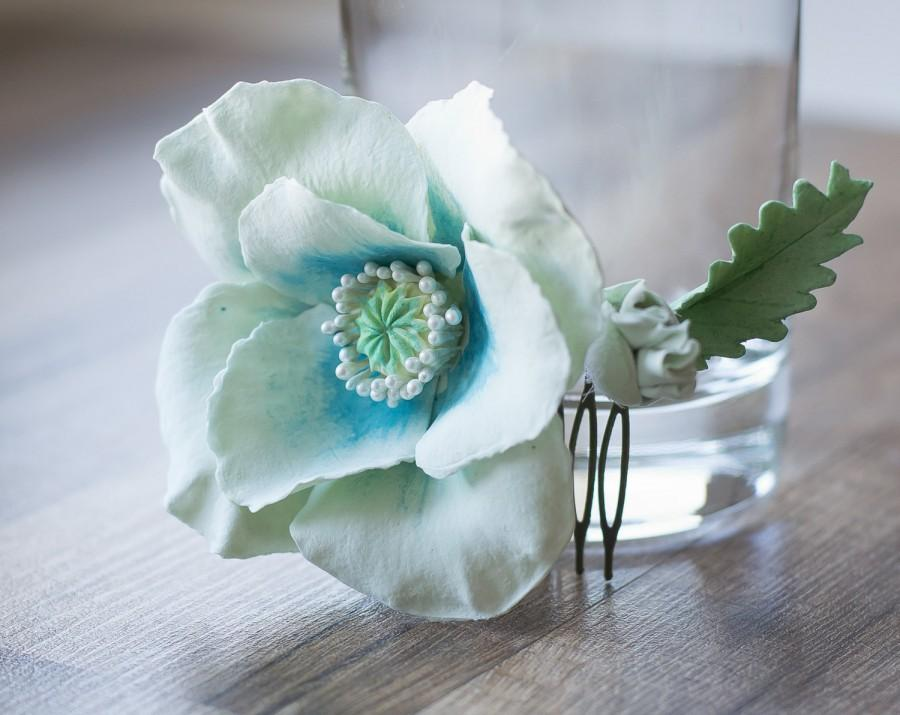 Hochzeit - Poppy hair comb - flower hair accessories - aqua wedding - flower hair comb - poppy hair flower - poppy for hair - bridal headpiece