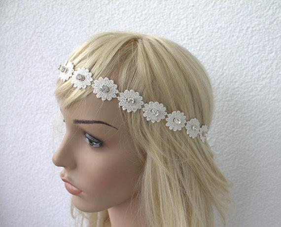 Mariage - Bridal Tiara, Bridal Headband, Country Bride, Hippie headband flowergirl, Wedding Hair, Bridal Halo, Floral Headpiece