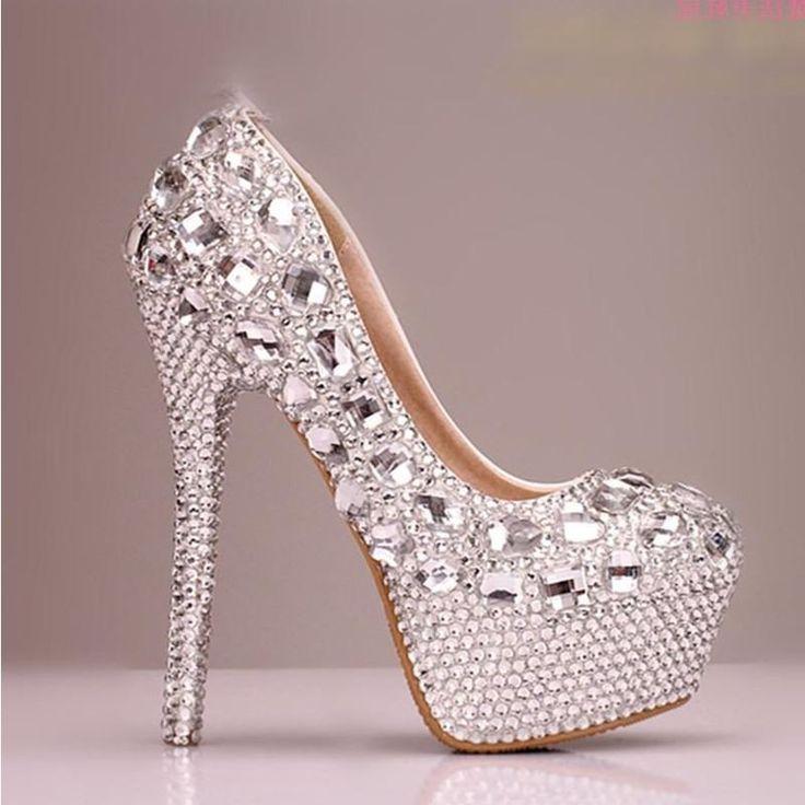 Fashion Handmade Rhinestone High Heels Pointed Toe Crystal Wedding Bridal Shoes, S024