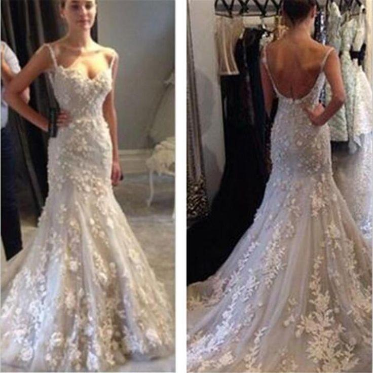 Spaghetti Straps Open Back Tulle Lace Party Long Prom Dress Cheap