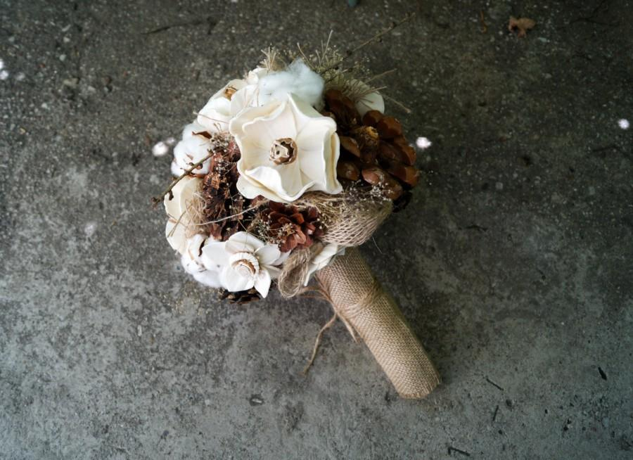 Sola Flower Bouquet Autumn Wedding Bouquet Pine Cones And Cotton ...