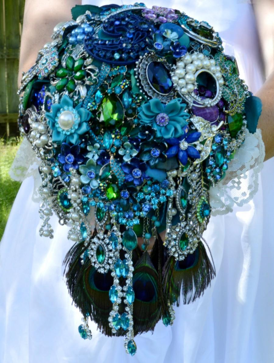 Mariage - FULL PRICE CUSTOM Made Peacock Cascading Bridal Brooch Bouquet Peacock Feathers Cascade Teal Turquoise Blue Green Pearl Purple