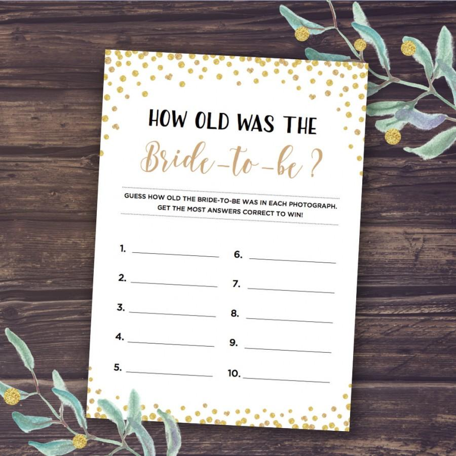 how old was the bride game black and gold wedding shower printable game bridal shower games instant download is bride to be guess age
