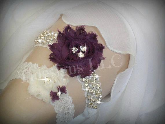Hochzeit - Luxury Garter Set/Eggplant Purple, Wedding Garter Set, Ivory Stretch Lace Garter, Rhinestone garter, Purple Flower Garter Set