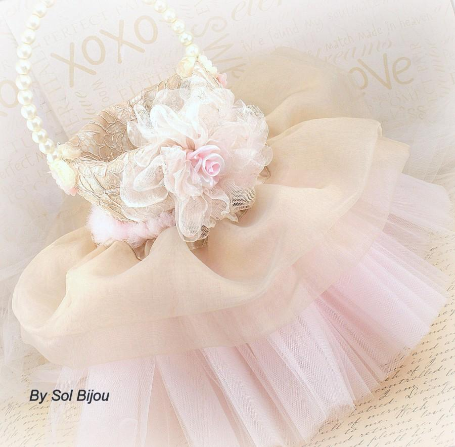 Flower Girl Basket Champagne Tan Ivory Blush Pink Elegant