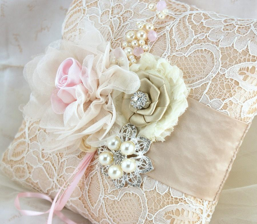 Mariage - Ring Bearer Pillow, Champagne, Tan, Beige, Pink, Ivory, Elegant Wedding, Bridal, Lace, Crystals, Brooch, Pearls, Vintage Style