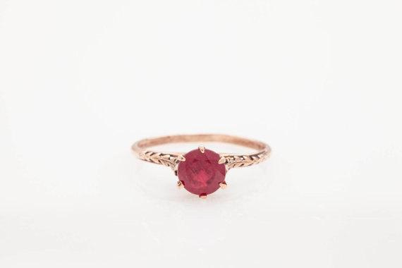 Vintage 1 50 Ct Red Ruby 14k Rose Gold Wedding Ring Engagement