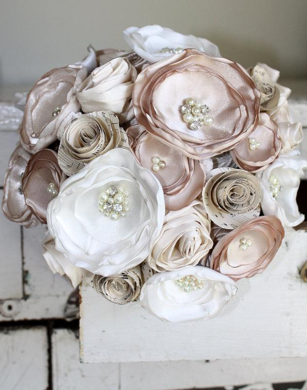 Champagne Bouquet, Sheet Music Wedding Bouquet, Fabric Flower Bridal ...