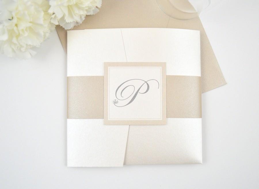 Romantic Wedding Invitations, Monogram Wedding Invites, Pocketfold ...