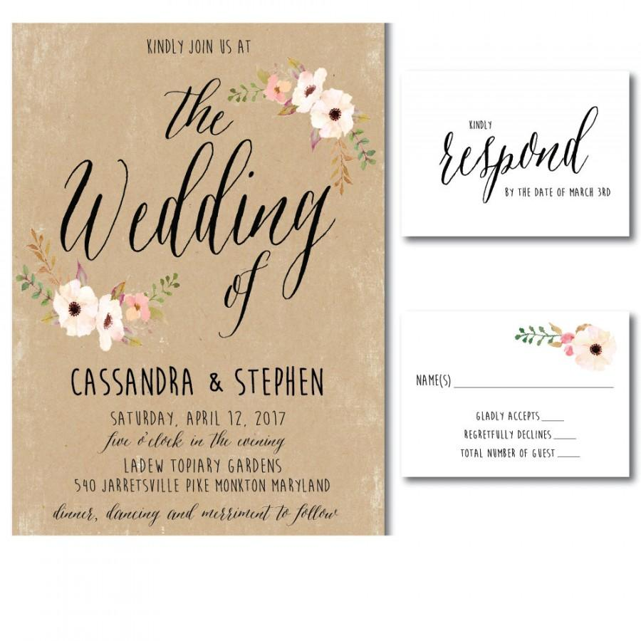 Wedding Invitation Printable Template - DIY Printable PDF - Wedding  Invitation Print Your Own- Kraft #2607901 - Weddbook