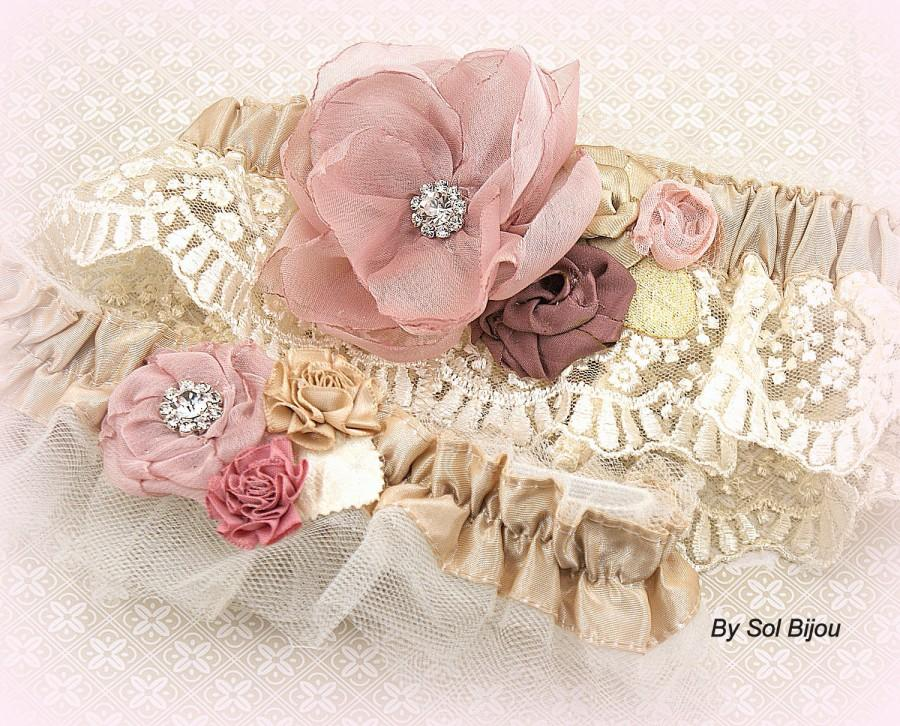 Свадьба - Garter, Dusty Rose, Rose, Gold, Champagne, Bridal, Elegant Wedding, Vintage Style, Garter Belt, Toss, Crystals, Lace, Pearls