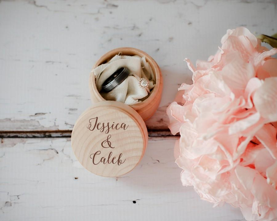 Hochzeit - Engraved Wedding Ring Box, Wooden Ring Box, Wedding Gift, Ring Bearer Box, Engraved Wooden Box, Custom Names Ring Box, With This Ring Box
