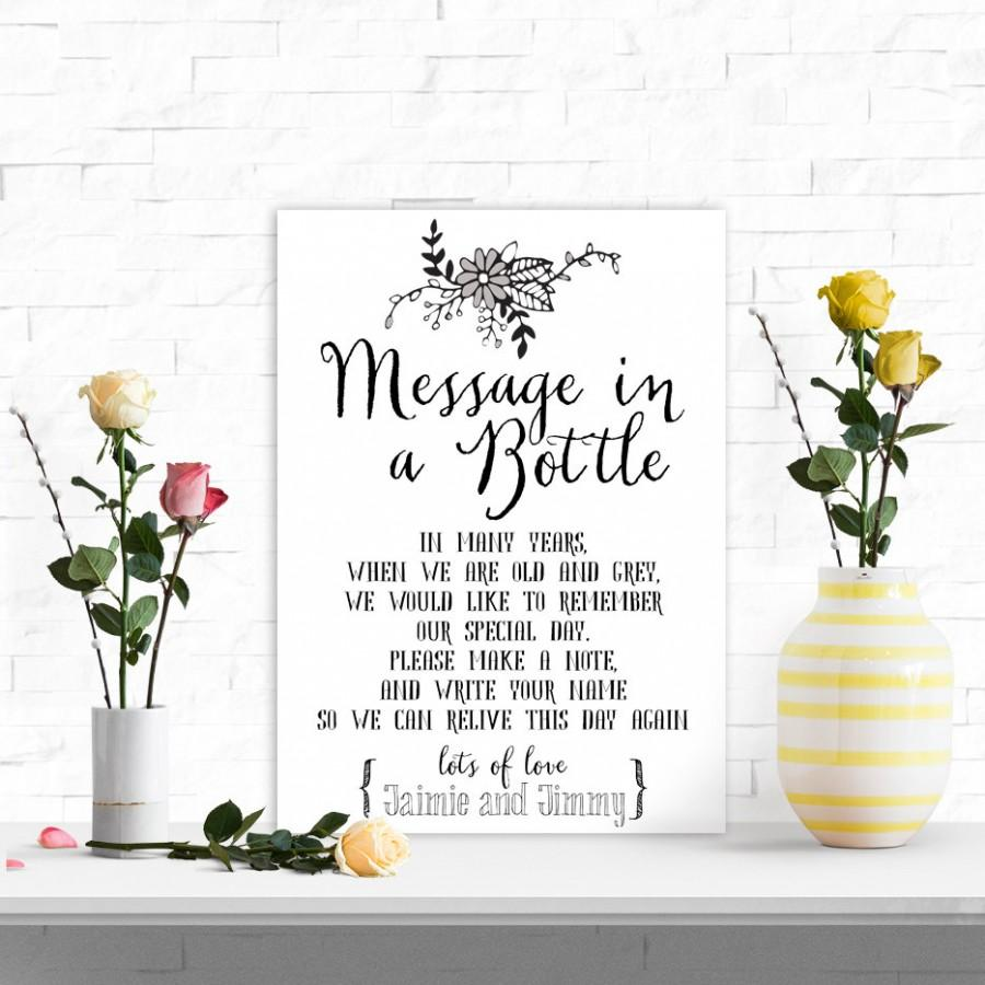 A4 Personalised Wedding Message In A Bottle Guest Book Table Sign ...