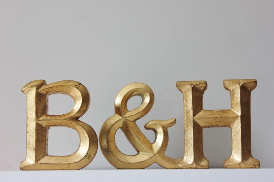2 Gold Letters And Ampersand Resin Vintage Style Gold Leaf Painted Wedding Decor Initials Monogram Photo Prop Table Decor Golden 4 Home