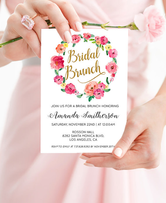 Mariage - Printable Bridal Shower Brunch Invitation - Floral Shower Invitation - Boho Wedding Invitation - PDF Instant Download WDH0081