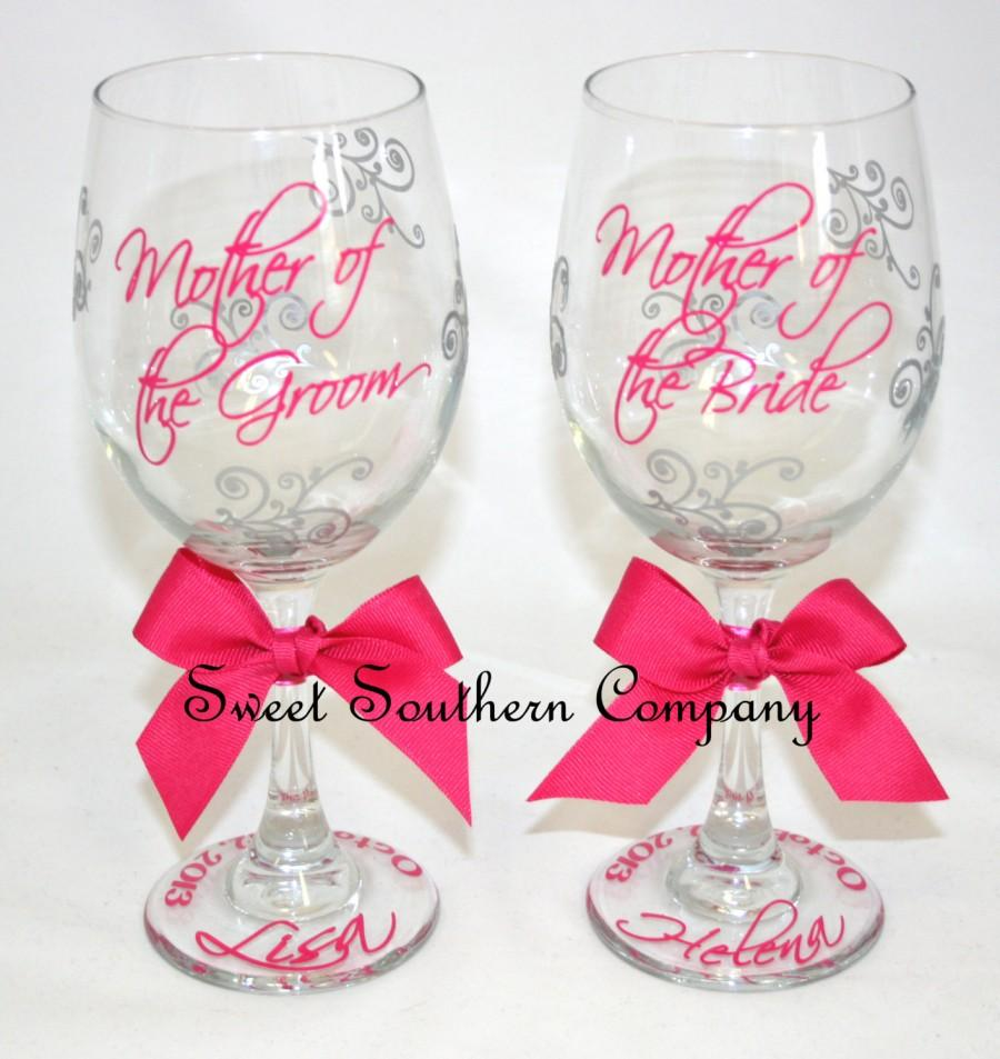 Hochzeit - Mother of the Bride and Mother of the Groom Set of 2 Monogrammed Wine Glasses