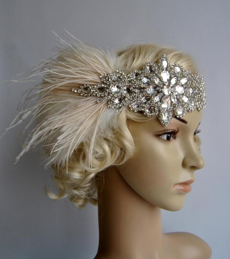 Hochzeit - Glamour Rhinestone flapper Gatsby Headband, Wedding Headband, Crystal Headband, Wedding Headpiece, Bridal Headpiece, 1920s Flapper feathers