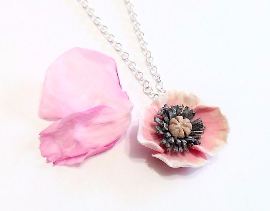 Nozze - Pink Poppy Necklace - Poppy Pendant,Love Necklace, Bridesmaid Necklace, Flower Girl Jewelry, pink Bridesmaid Jewelry