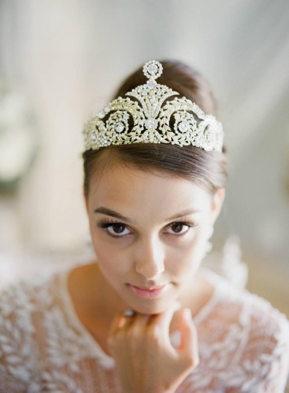 Mariage - Bridal Tiara Art Deco Tiara - HARLOW, Swarovski Gold Bridal Tiara, Crystal Wedding Crown, Tiara, Wedding Tiara, As Seen on Style Me Pretty