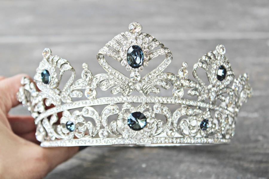 Wedding - Full Bridal Crown BLUE CORDELIA Swarovski Crystal Wedding Crown Silver Bridal Diadem Blue Tiara Crystal Wedding Tiara Diamante Bridal Tiara