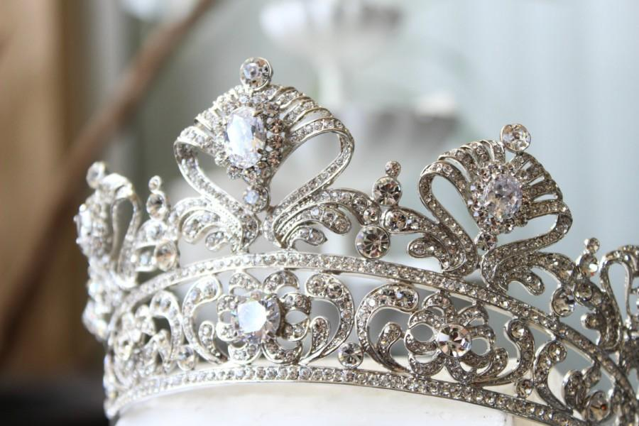 Свадьба - Full Bridal Crown, Swarovski Crystal Crown, CORDELIA Crown, Silver Bridal Diadem, Crystal Wedding Tiara, Diamante Tiara, Bridal Tiara