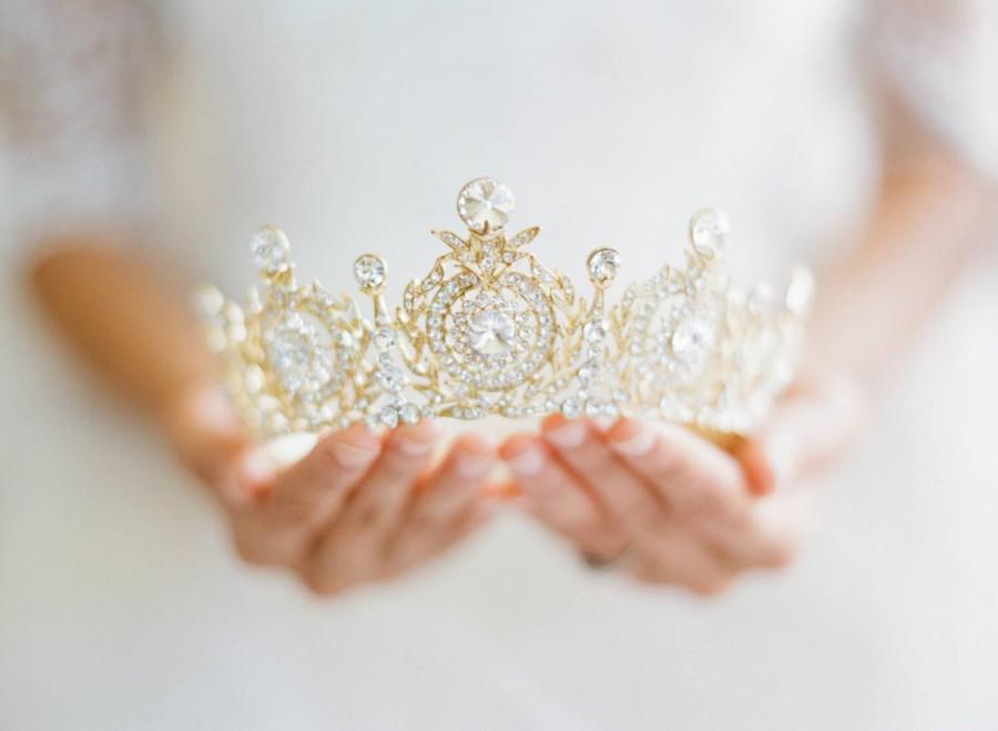 Mariage - Crown, Edwardian Full Bridal Crown, Swarovski Crystal Wedding Crown, Gold Bridal Diadem, Crystal Wedding Tiara, Diamante Tiara, TANYA Crown
