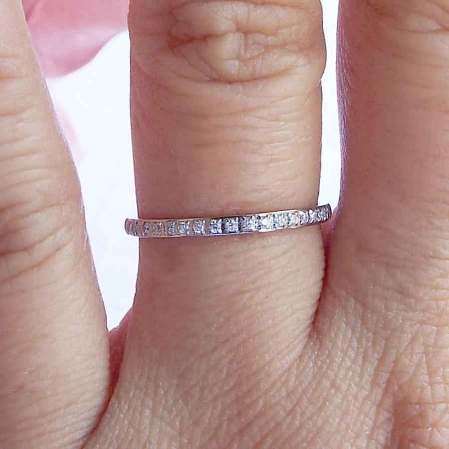 Dainty Stainless Steel CZ Eternity Wedding Band CZ Diamond Ring ...