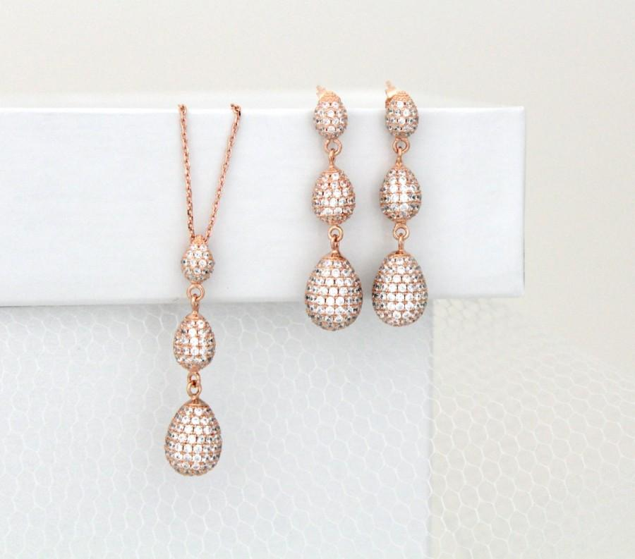 dae69c91264d2 Rose Gold Earrings, Rose Gold Necklace, Wedding Jewelry, Teardrop ...