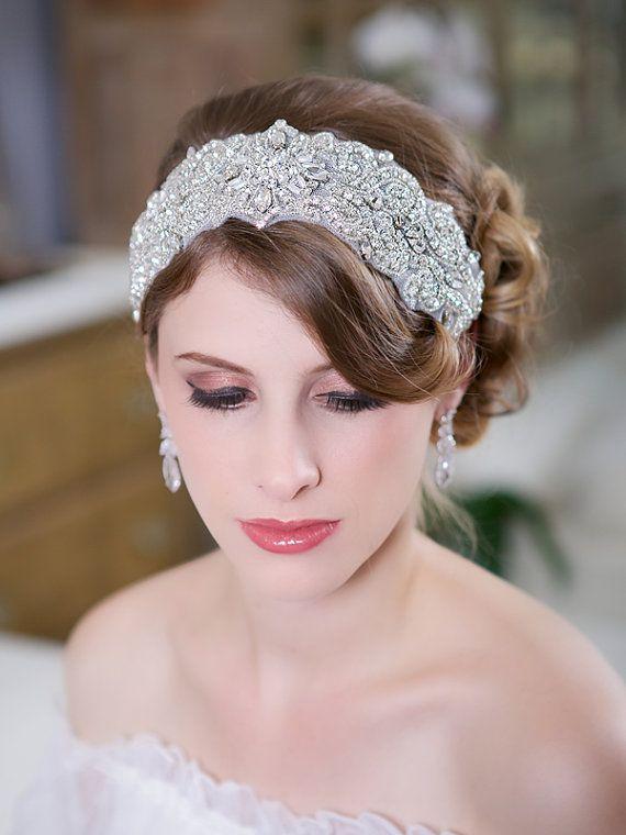 زفاف - Wide Silver Art Deco Headband, Crystal Headpiece, Beaded Headband, Rhinestone, Crystal Head Piece, Bridal Hair Accessories, STYLE 133