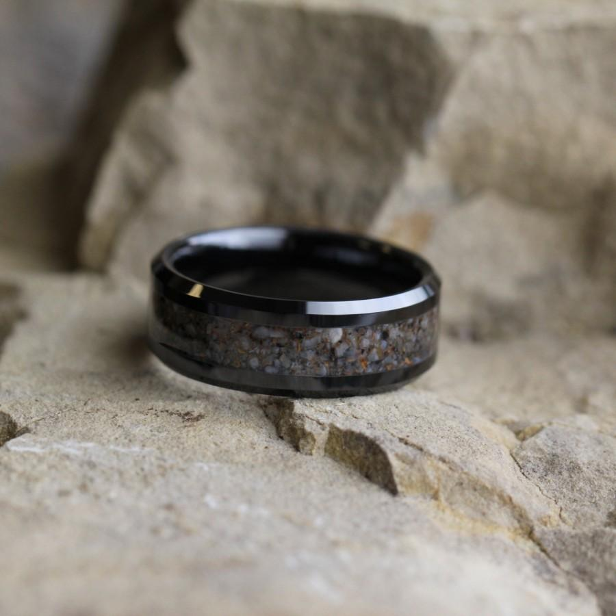 Dinosaur Bone Wedding Band, Black Ceramic Ring With Dinosaur Bone Inlay