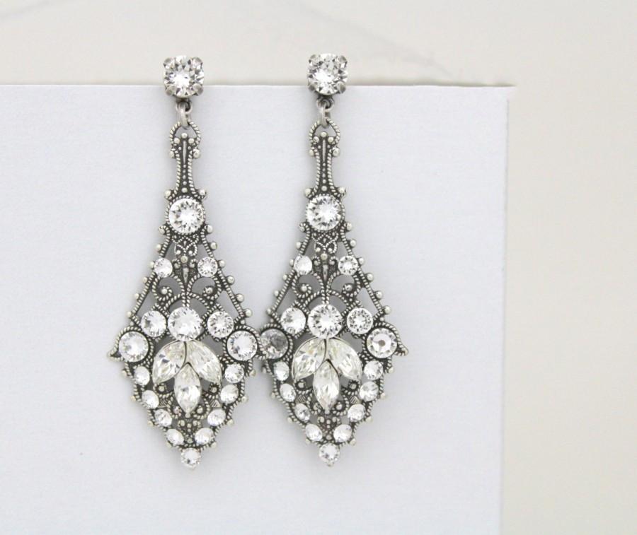 Wedding - Chandelier wedding earrings, Crystal Bridal earrings, Swarovski crystal earrings, Antique silver earrings, Vintage style earrings, Art Deco
