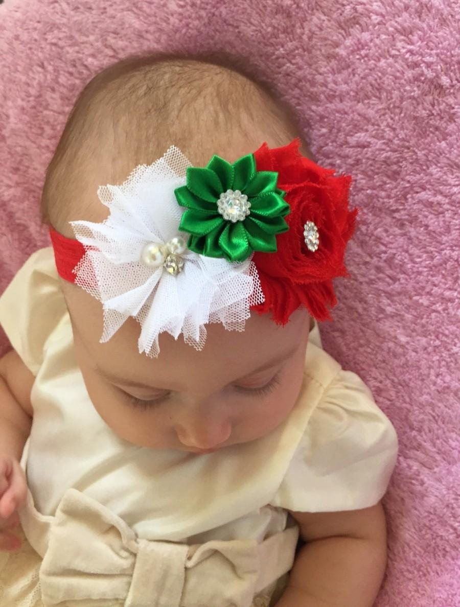 Christmas headband baby Baby Christmas headband First Baby Christmas  headband Red and green headband Baby Girl Headband Baby Newborn Headban 76e693a3fa0