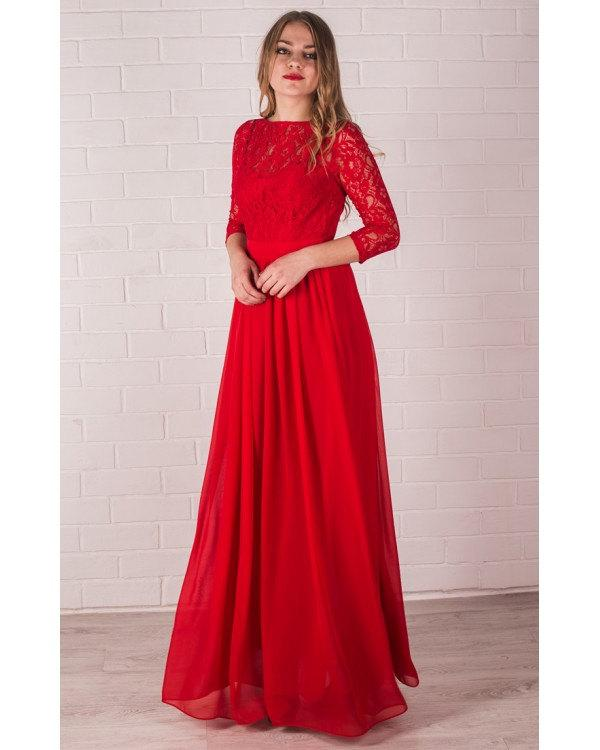 Свадьба - Red Long Bridesmaid Dress Lace Handmade Red Chiffon Wedding Party Dress Long Red Prom Dress