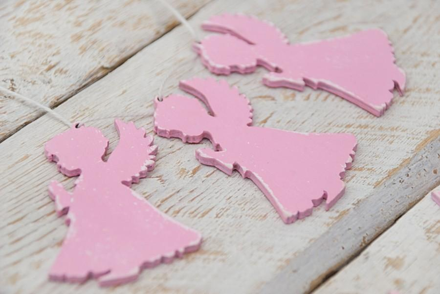 Свадьба - Pink angel wood ornament Baby girl newborn gift For nursery and children room decoration Wood pink kids room decor Holiday decor DIY project