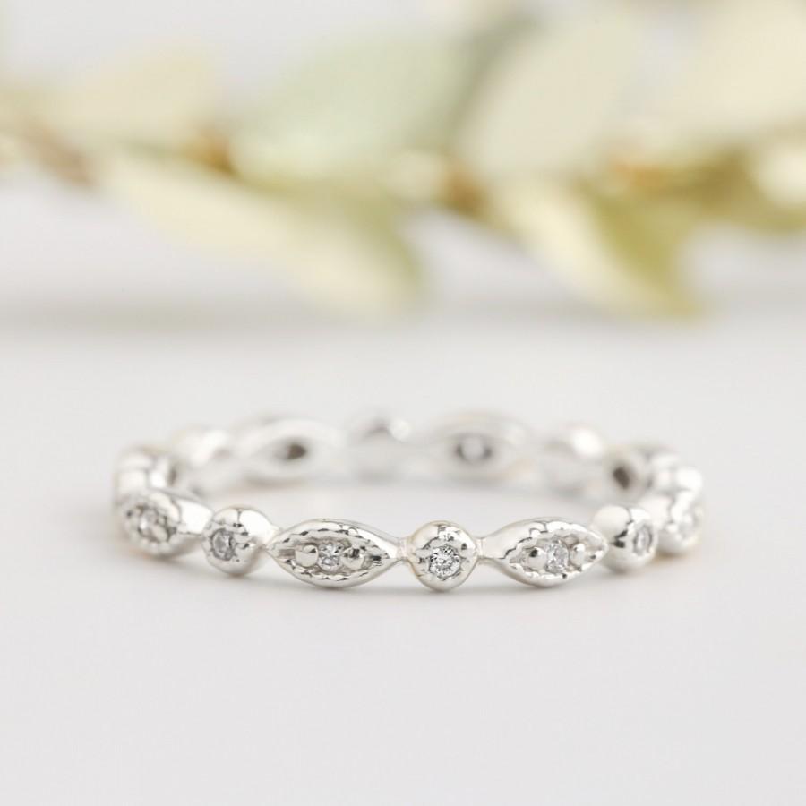 زفاف - Platinum wedding ring, art deco wedding band, diamond eternity ring, conflict free diamond, full eternity, diamond stack rings, bri-ado-w102