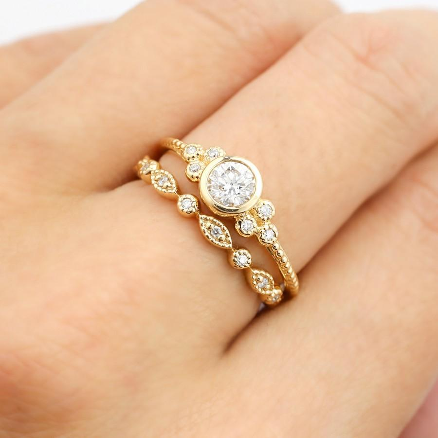 Yellow Gold Engagement Ring Set, 0.32ct F SI 3EX GIA Certified Diamond Ring,  Diamond Eternity Ring, Unique Wedding Ring, 14k Gold, Ado R101