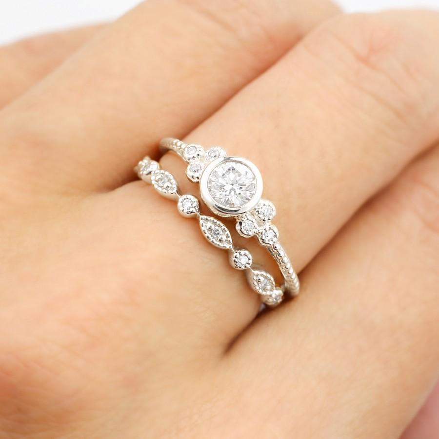 Art Deco Platinum Engagement Ring Set Or White Gold F SI 3EX GIA