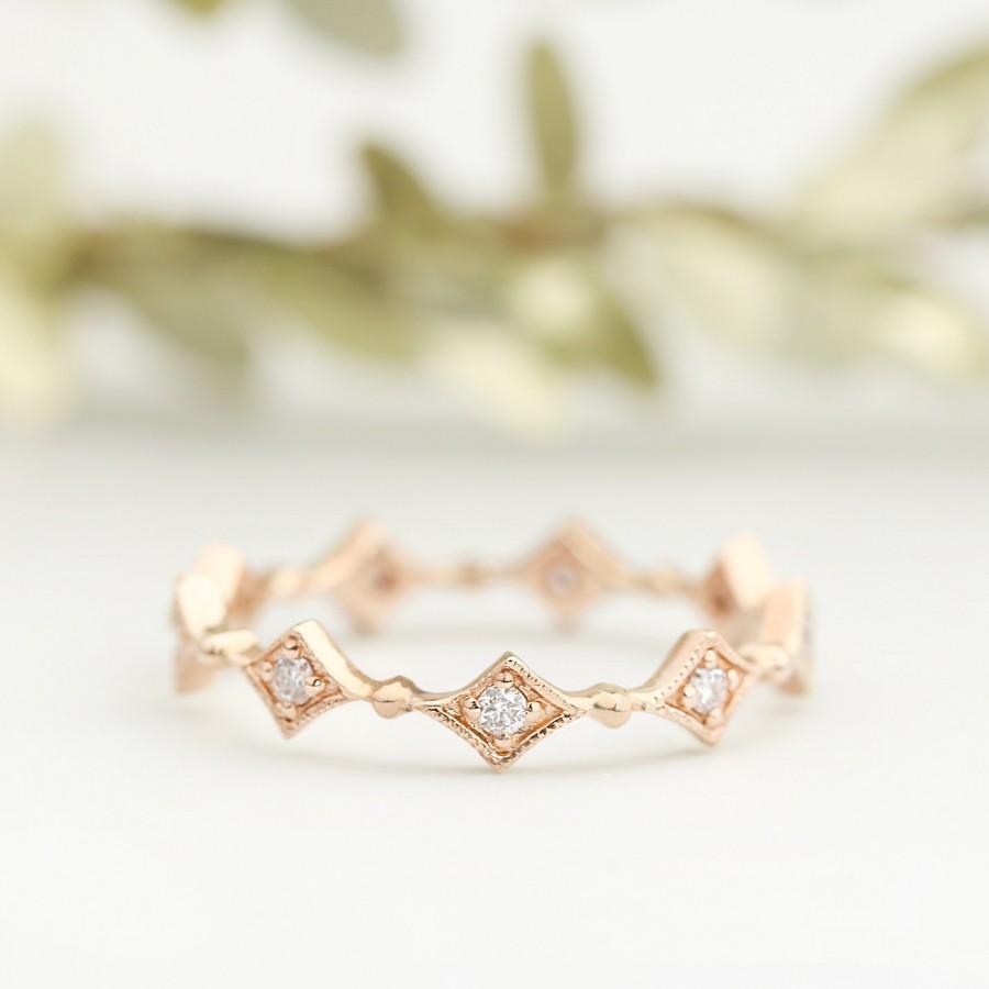 Mariage - rose gold diamond eternity ring, wedding ring, wedding band,14k gold, 18k gold, pt950, conflict free, sta-r102-dia