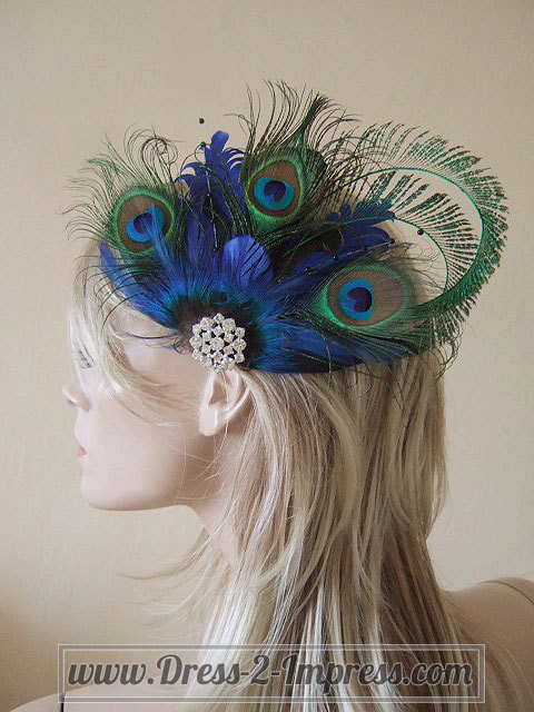 Mariage - Bridal Peacock Feathers and Crystal Brooch Blue Green Clip Fascinator MNB110 - 4 Days to Make - Wedding Party Accessory Ideas - Bridesmaid
