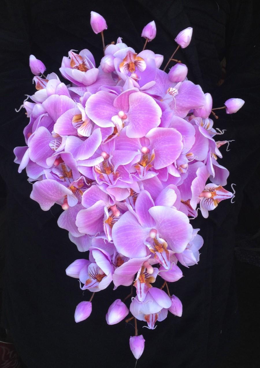 زفاف - Light Purple True-Touch Orchid Cascading Bouquet