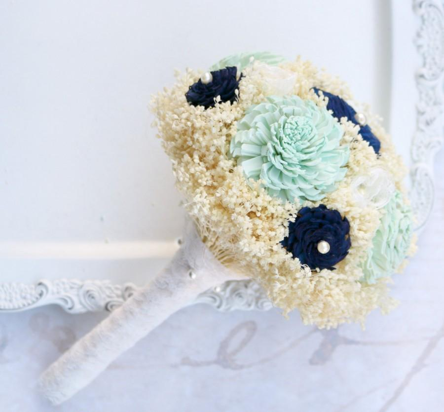Hochzeit - Mint and Navy Bridesmaid Bouquet // Navy, Mint, Bridal Bouquet, Wedding Bouquet, Small Bouquet, Sola Flowers, Lace Flowers, Babies Breath