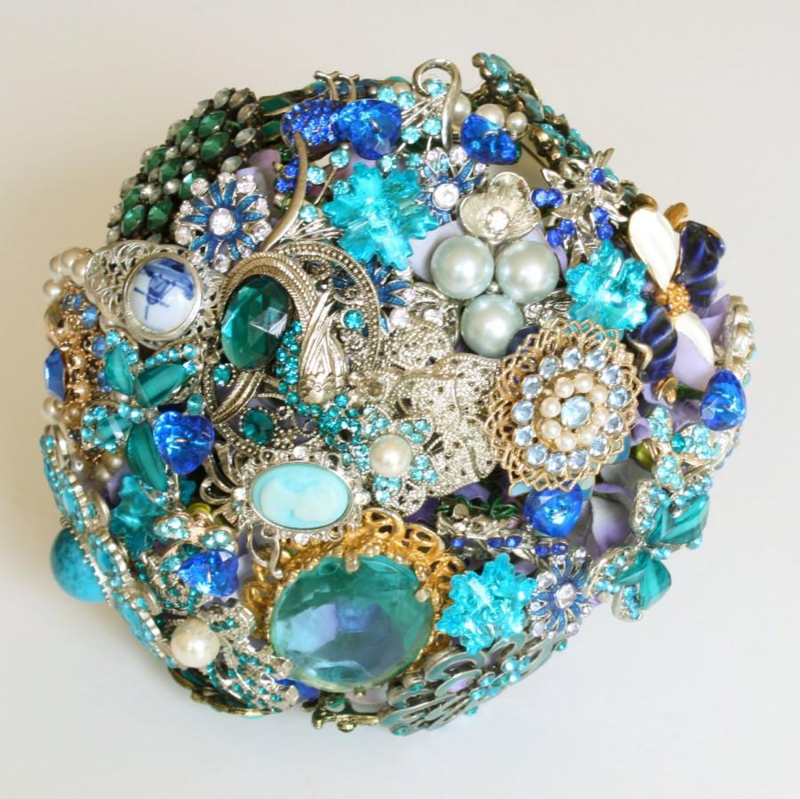 Mariage - BLUE Bridal BROOCH BOUQUET, Wedding Brooch Bouquet, Vintage style heirloom with pearls, jewels