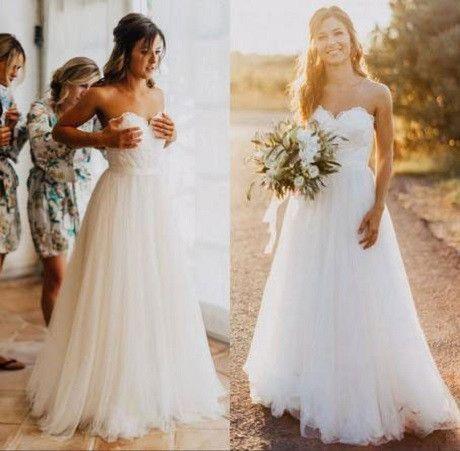 Свадьба - A-line Strapless Sweetheart Neck Lace Up Sweep Train Bridal Wedding Dress