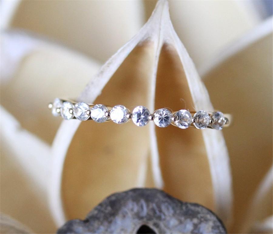 زفاف - White Sapphire Wedding Band,Half Eternity Pave 10pcs White Sapphire Wedding Ring,Clear Gemstone Ring 14K Yellow Gold Match Ring