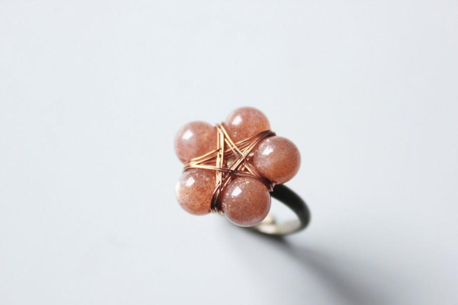 Wedding - sunstone ring Pentagram ring oregon sunstone ring wiccan jewelry witchy ring pagan jewelry pagan ring statement ring sunstone jewelry peach