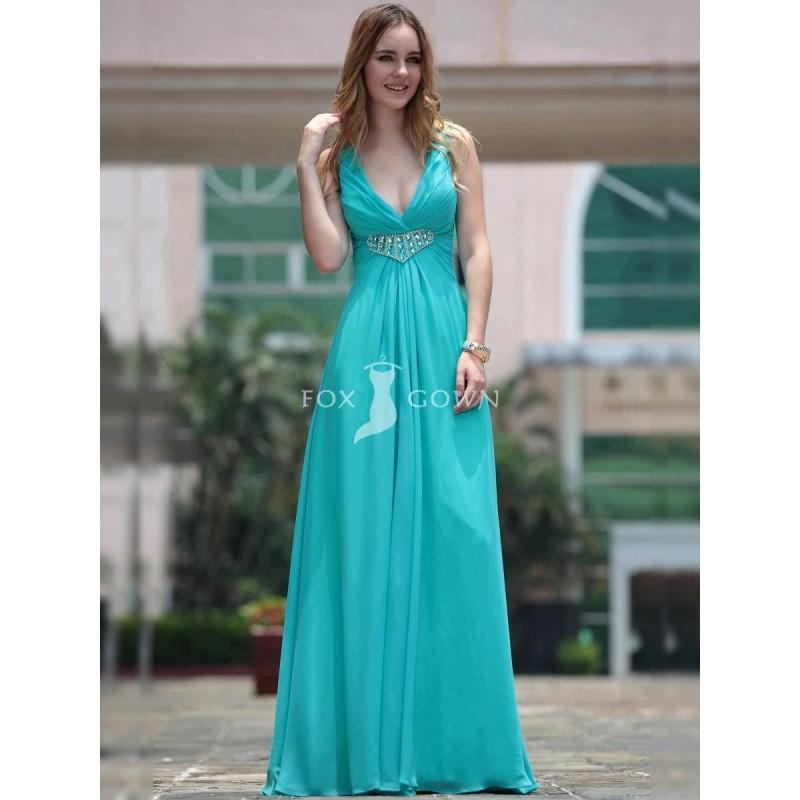 Hochzeit - Lake Blue Deep V Neck lange formelle Kleidung mit Beadword auf Taille - Festliche Kleider