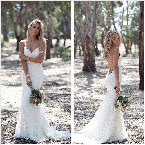 Bohemian Mermaid Lace Wedding Dress Spaguetti Straps Open Back