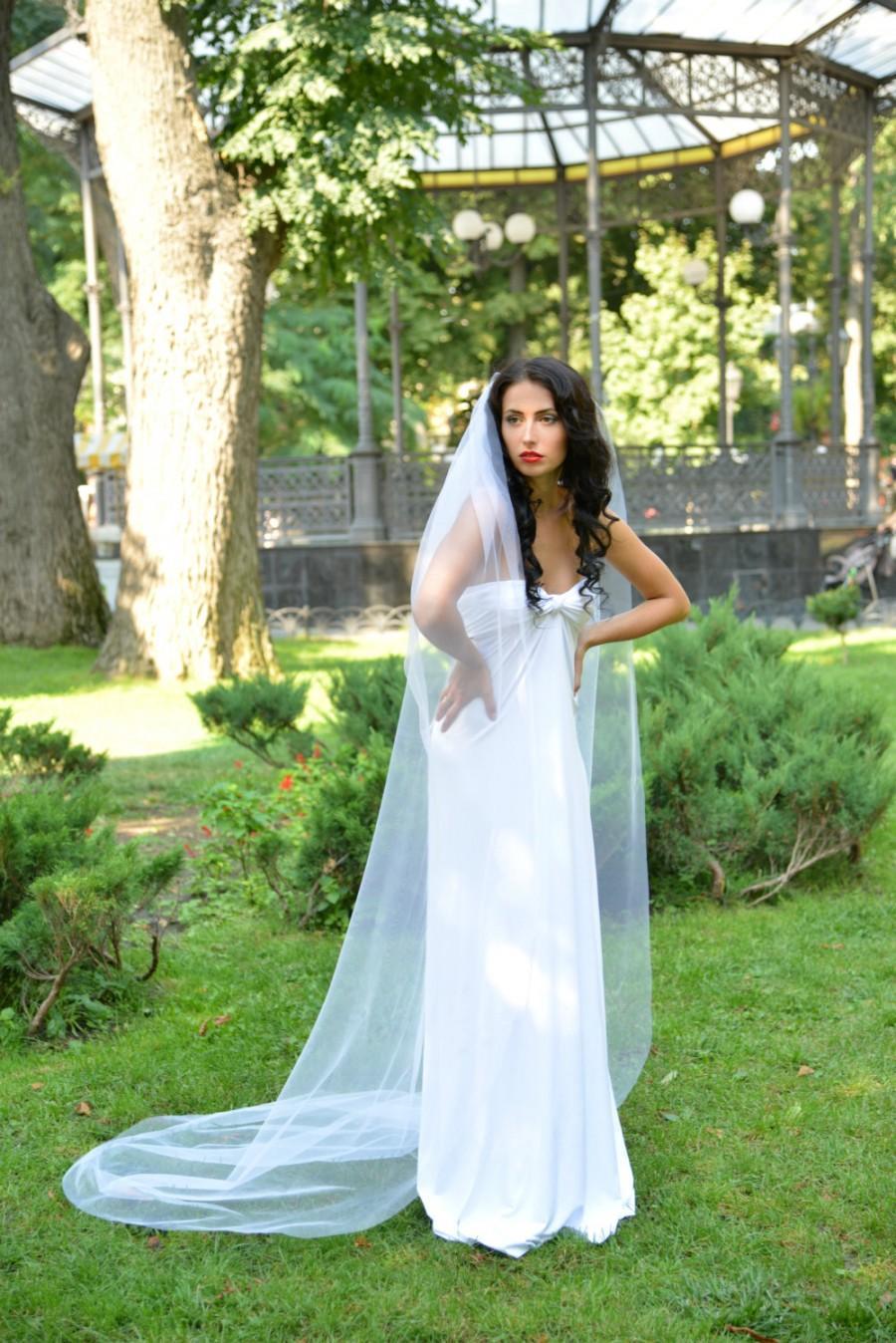 Свадьба - Simple wedding veil, Bridal veil long, single tier, 88 inches, Cathedral Wedding Veil, Chapel Ivory Veil, White veil, veils