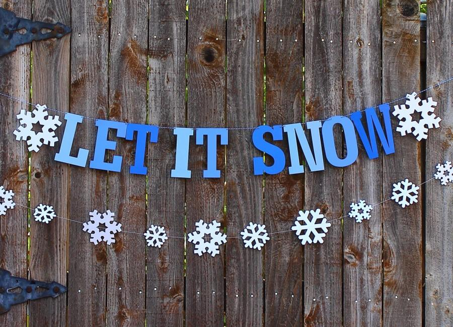Mariage - Let it Snow Banner, Christmas Banner, Christmas Decor, Winter Party Decor, Winter Garland, Snowflake Party Decor, Holiday Decor