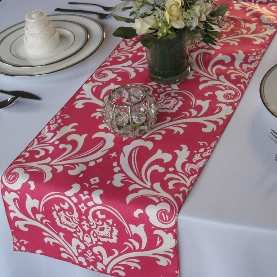 Свадьба - Traditions Hot pink and White Damask Wedding Table Runner